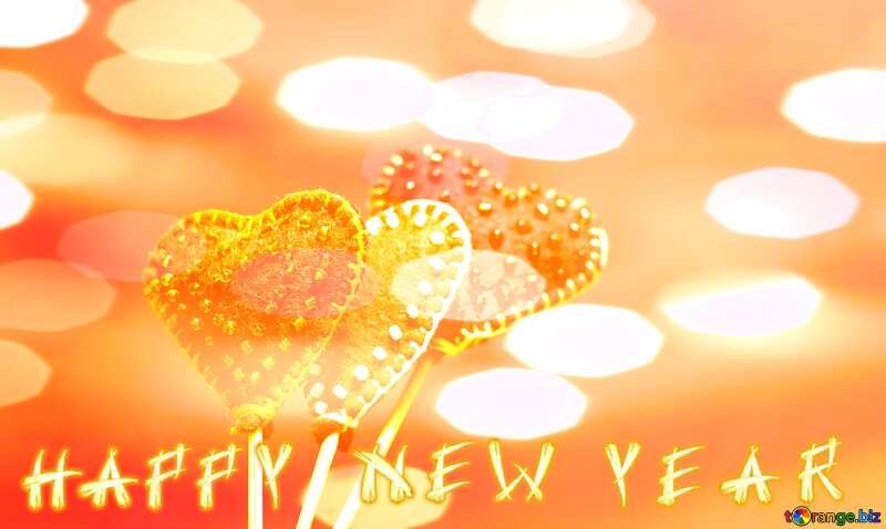 Hearts made of felt on a dark background in isolation Happy New Year №49197