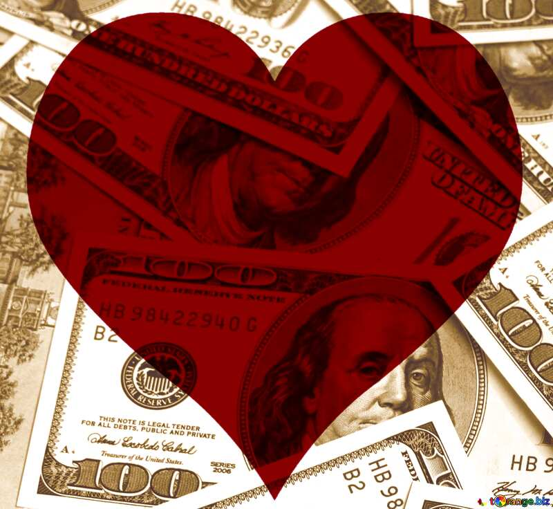 Dollars love red heart background №1507