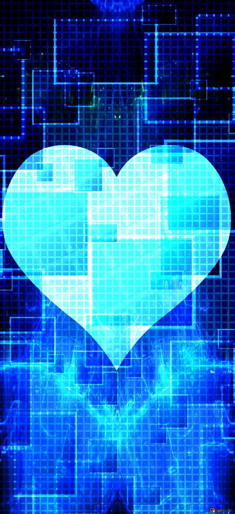 Lights template Heart Tech Squares Lights Banner Background Heart love №49678