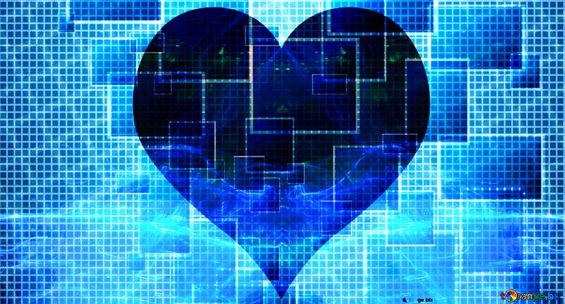 Lights template Line Techno love heart blue №49678