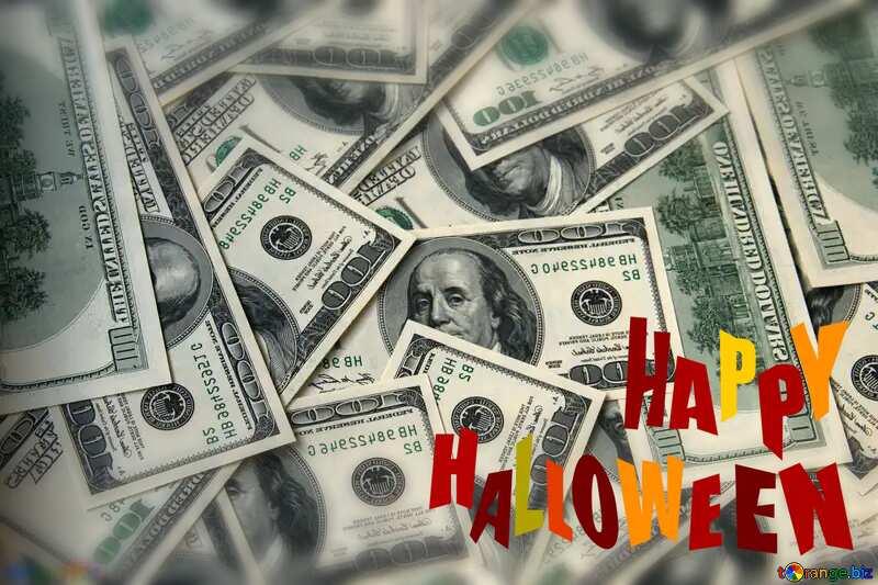 Dollars blurring happy halloween background №1507