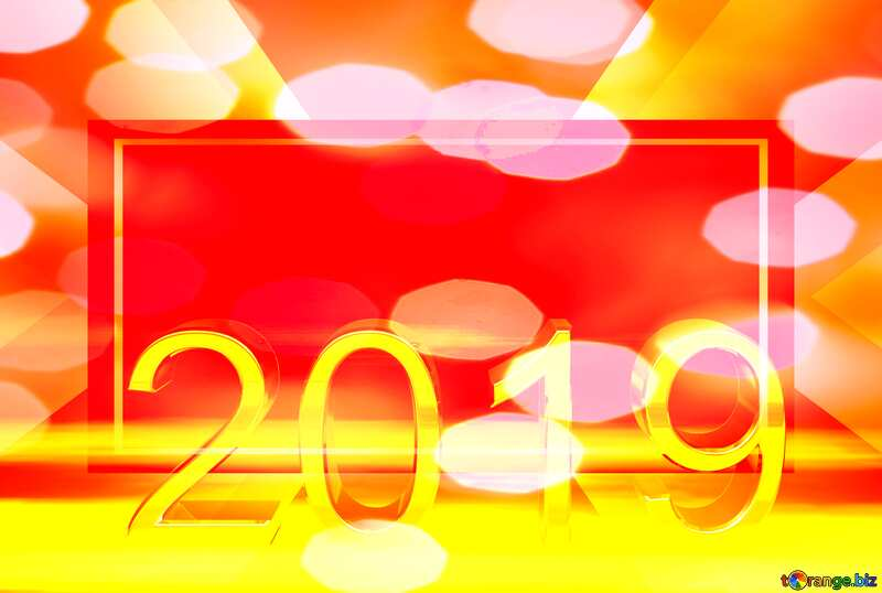 2019 3d render gold digits with reflections dark background isolated  Happy New Year   powerpoint website infographic template banner layout design responsive brochure business №51520