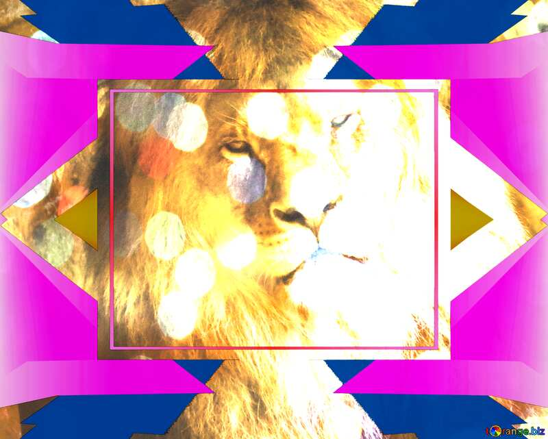 lion colorful geometric template frame №44974