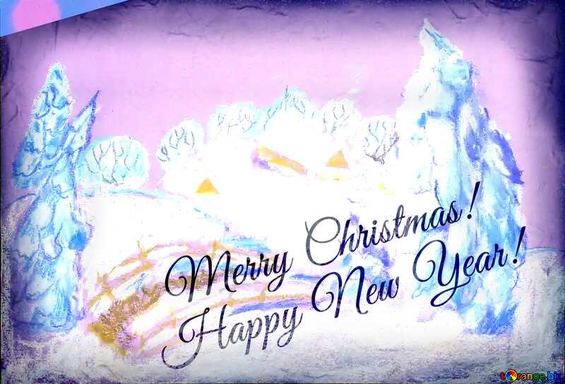 Landscape Snowy paint merry Christmas №49239