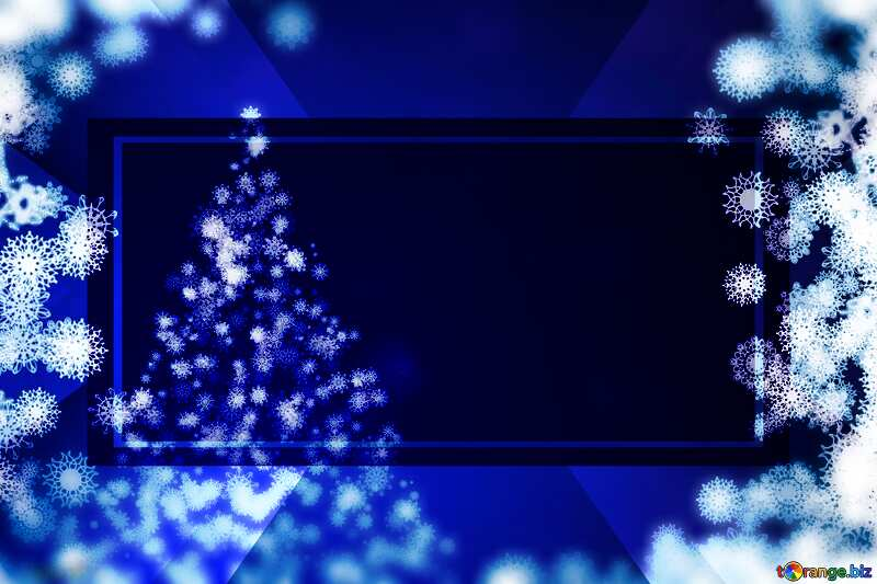 Blue color. Background clipart Christmas tree with snowflakes. powerpoint website infographic template banner layout design responsive brochure business №40697