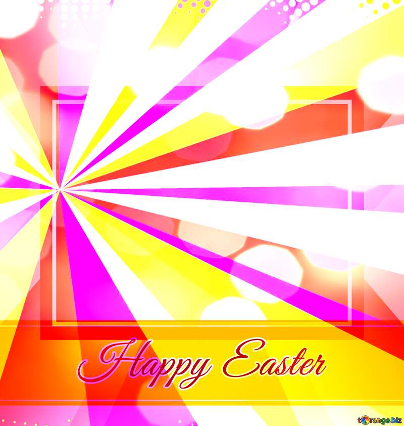 Card with Happy Easter write text on Colors rays background   powerpoint website infographic template banner layout design responsive brochure business №49668