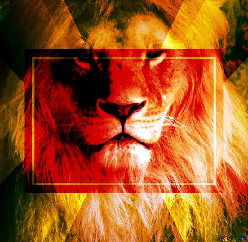Card lion portrait powerpoint website infographic template banner layout design responsive brochure business №44974