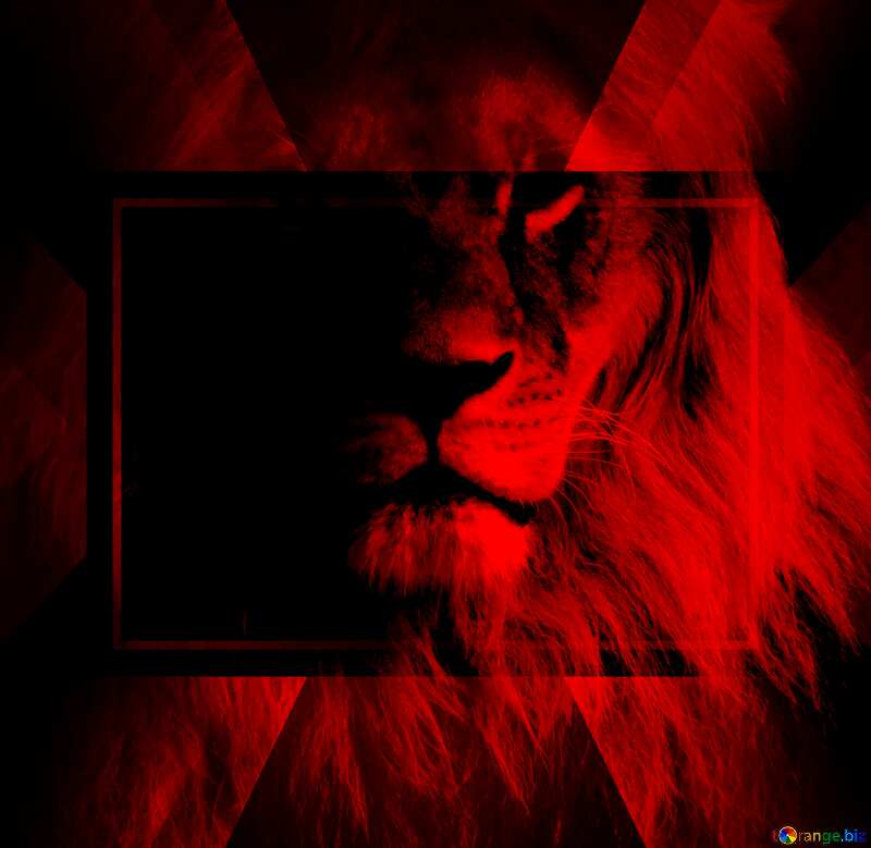 Red lion portrait powerpoint website infographic template banner layout design responsive brochure business №44974