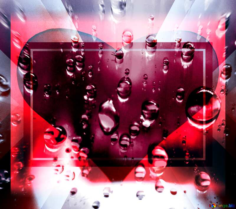 Raindrops love red heart background    powerpoint website infographic template banner layout design responsive brochure business №47981