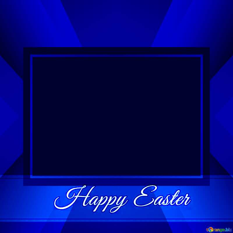 Blue card with Inscription Happy Easter       powerpoint website infographic template banner layout design responsive brochure business №49668