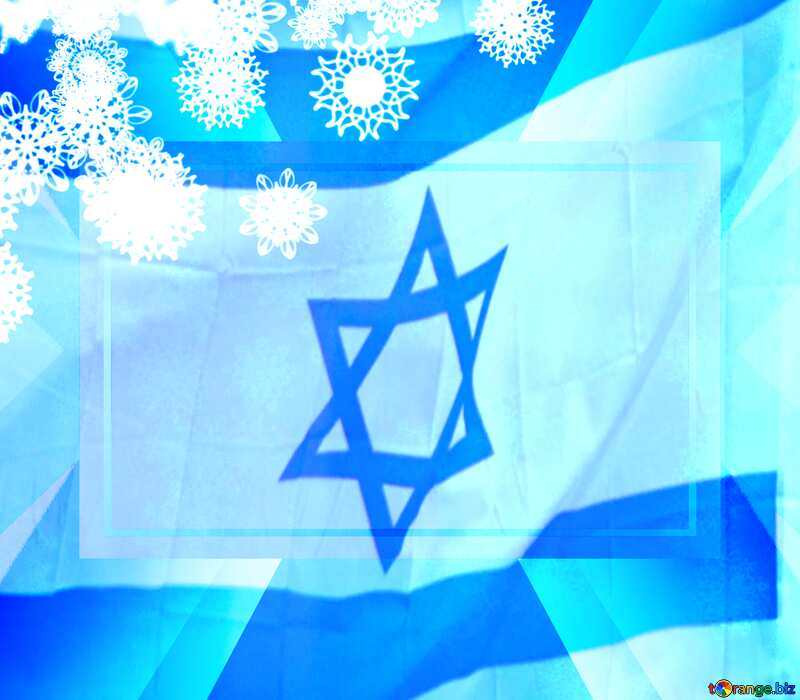 New year Israel background with snowflakes powerpoint website infographic template banner layout design responsive brochure business №40728