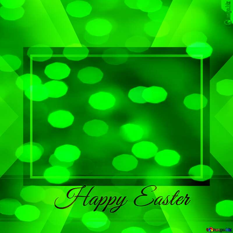 Inscription Happy Easter overlay green bokeh background       powerpoint website infographic template banner layout design responsive brochure business №49668