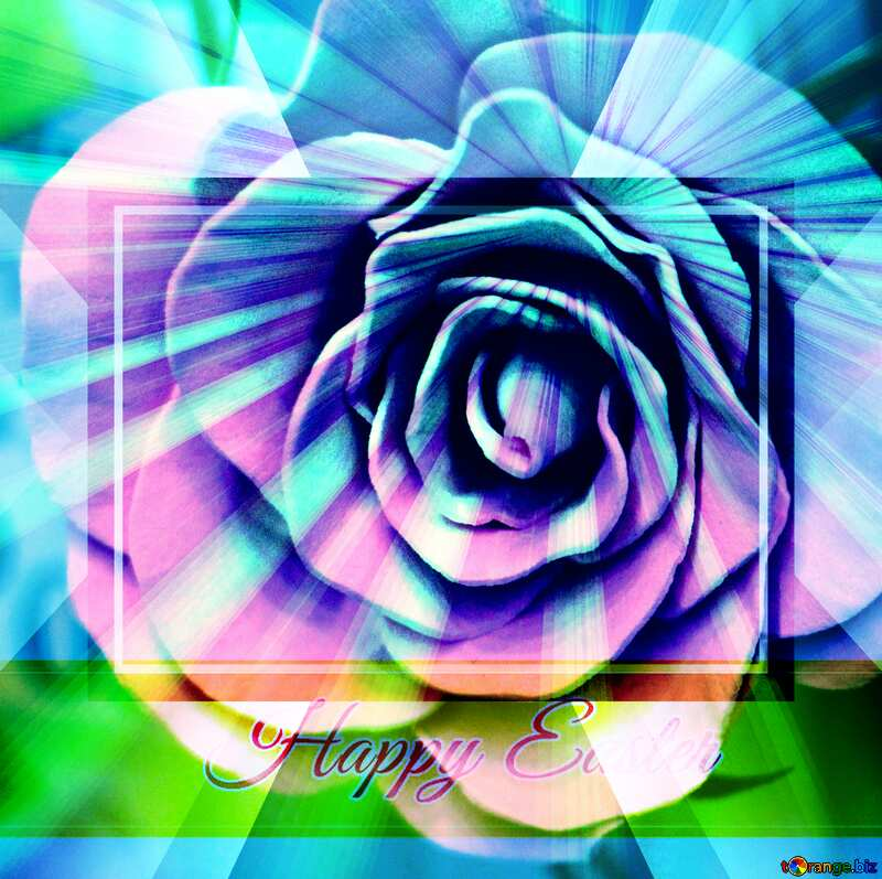 Rose flower from foamirana Inscription Happy Easter on Background with Rays of sunlight   powerpoint website infographic template banner layout design responsive brochure business №48638
