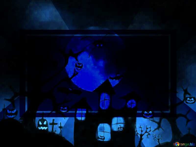 Cold Halloween card background dark blue №40470