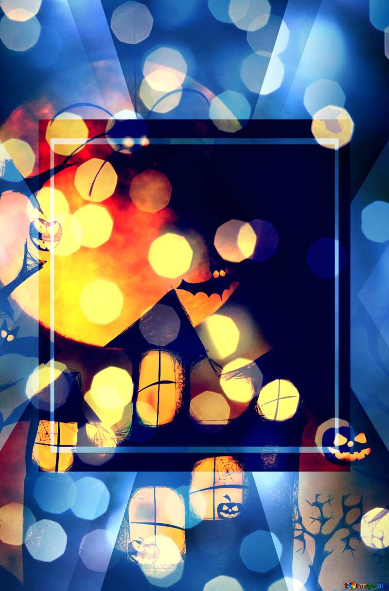 Halloween bokeh background powerpoint website infographic template banner layout design responsive brochure business №40470