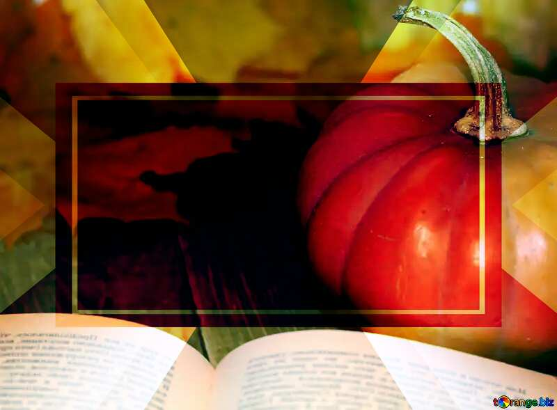 Book and pumpkin powerpoint website infographic template banner layout design responsive brochure business №35177