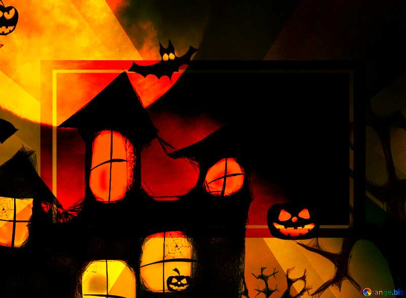 Halloween moon house background powerpoint website infographic template banner layout design responsive brochure business №40470