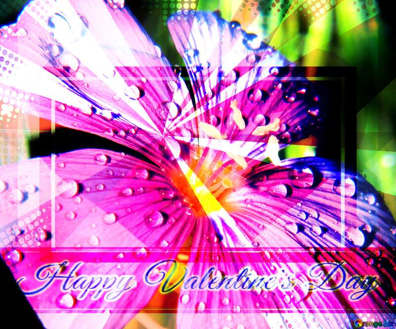 Beautiful flower background for the cover of the Greeting card retro style background Lettering Happy Valentine`s Day powerpoint website infographic template banner layout design responsive brochure business №33411