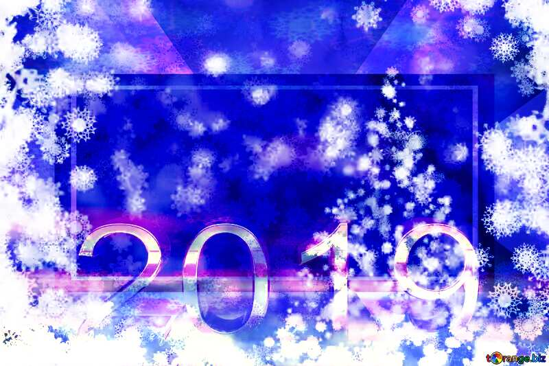 Blue background Christmas and new year 2019 3d render gold digits with reflections dark background isolated snowflakes powerpoint website infographic template banner layout design responsive brochure business №40703