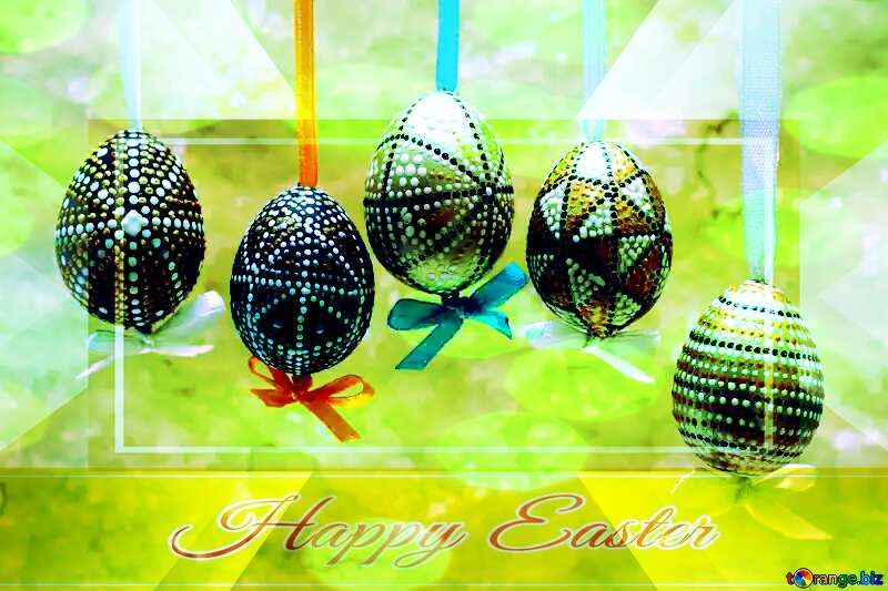 Painted Easter eggs Happy Easter card write text background Powerpoint Template №29792