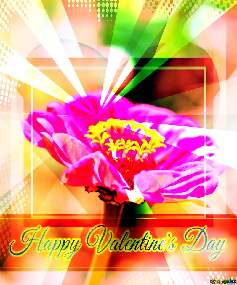 flower Greeting card retro style background Lettering Happy Valentine`s Day №33439