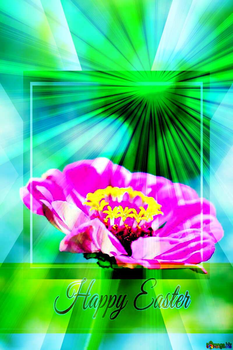 flower Inscription Happy Easter on Background with Rays of sunlight №33439