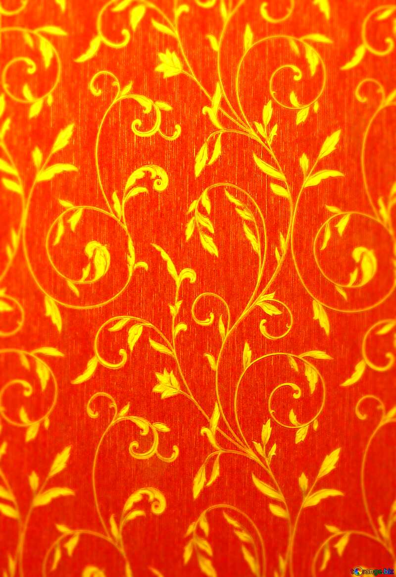 Gold pattern on red wallpaper №36317
