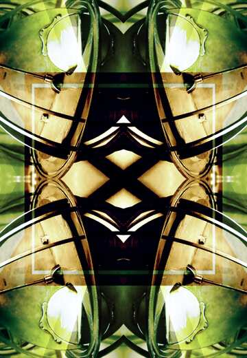 The effect of light. The effect of stained green. Fragment. Pattern.
