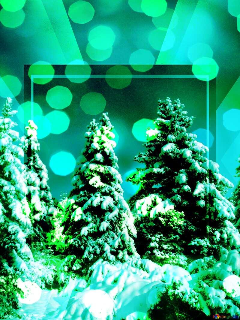 Green Tree Snow sun Layout card Template №10576