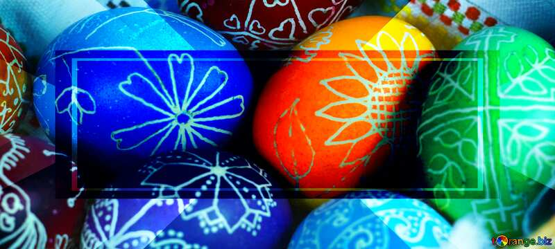 Easter eggs in basket Banner Design Painted Template №12264