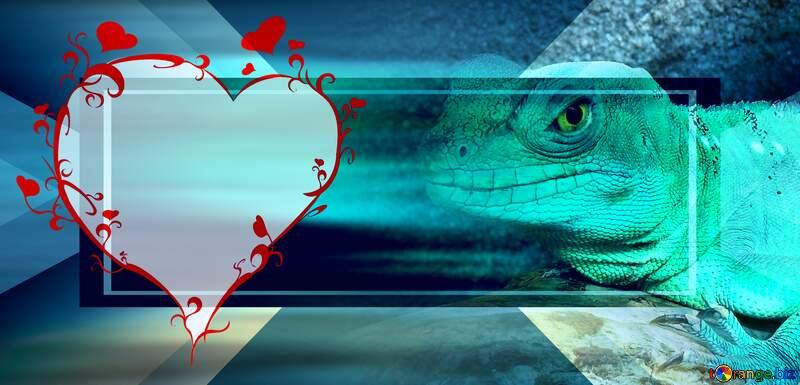 Lizard love card Banner Infographic Design Responsive Template №10697