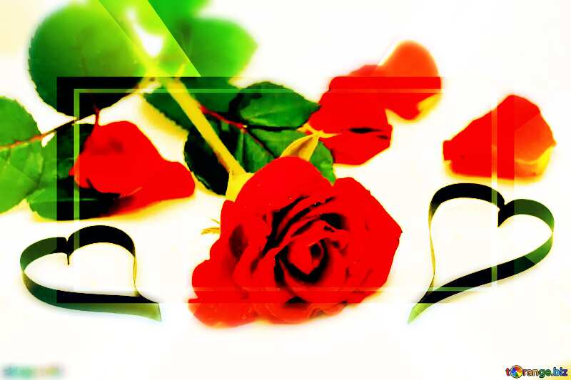 Roses and hearts blurring effect Template №16853