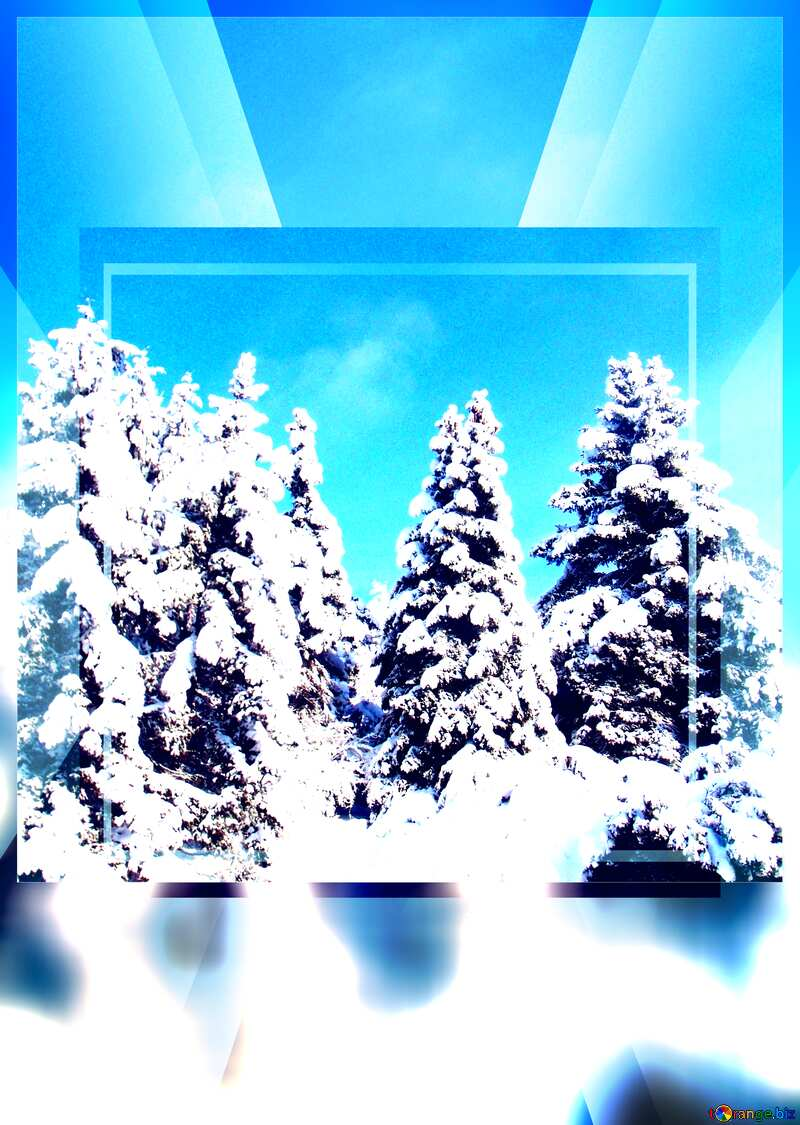 Snow forest blank card powerpoint website infographic template banner layout design responsive brochure business №10576