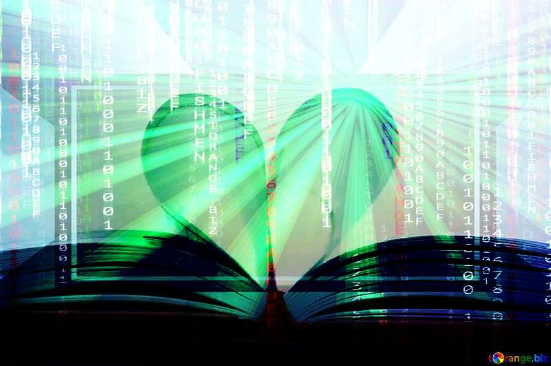 Heart of books Digital matrix style background overlay Rays of sunlight Template №16081