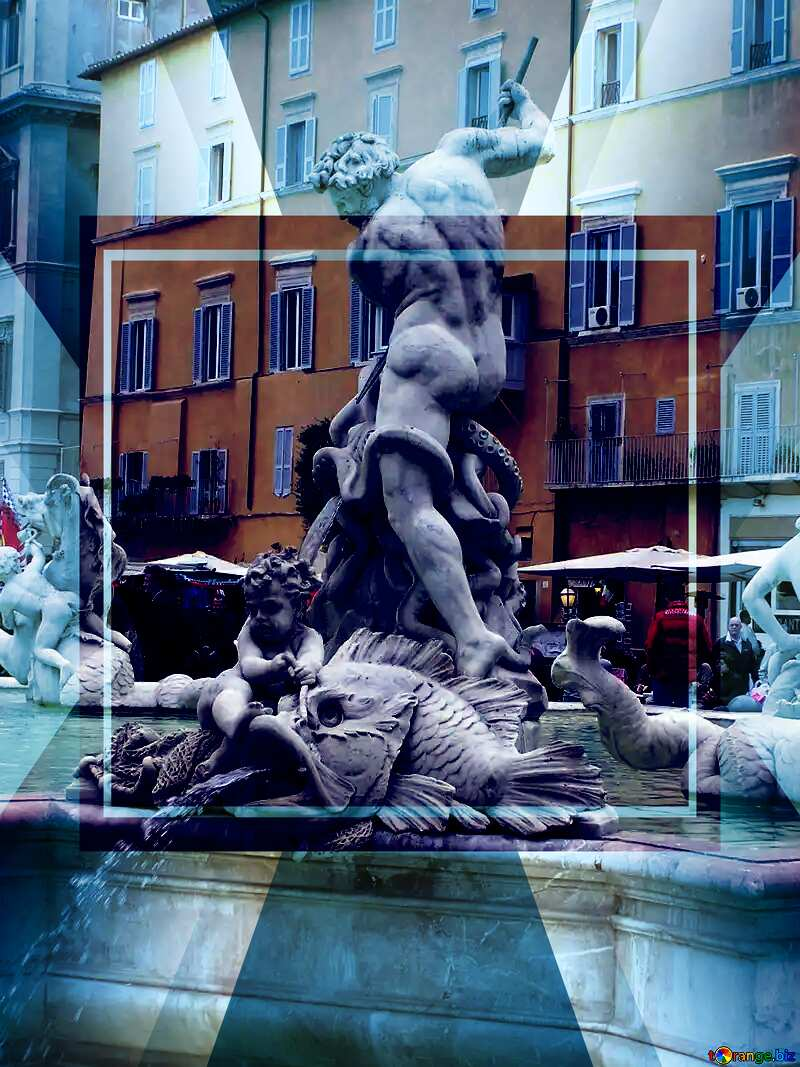 Sculpture in the fountain.Neptune. Infographic Powerpoint Template №12517