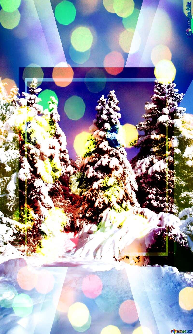 Fir Tree Snow sun Infographic Powerpoint Template №10576
