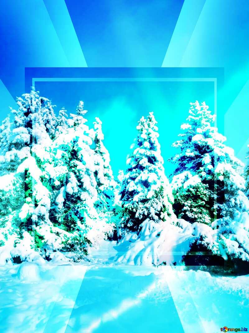 Winter Forest Snow Fir Tree Sun Template №10576