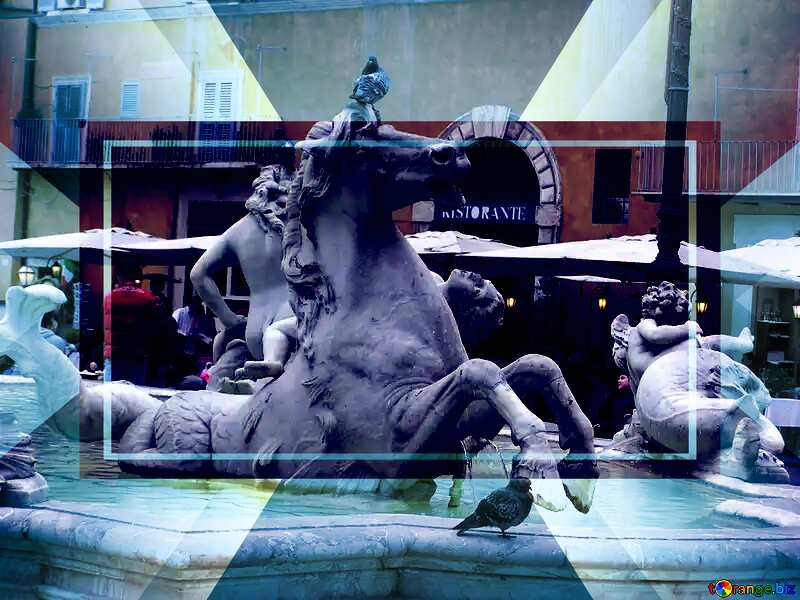 Horses in the fountain Template №12603