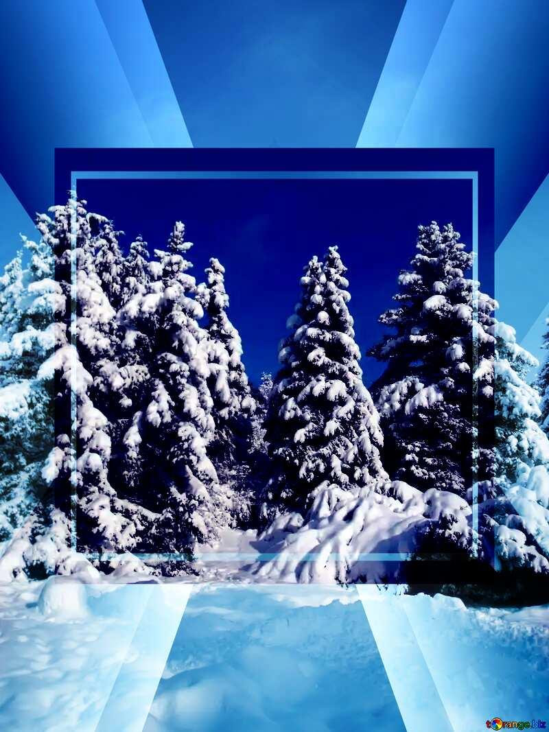Tree Snow sun Template №10576