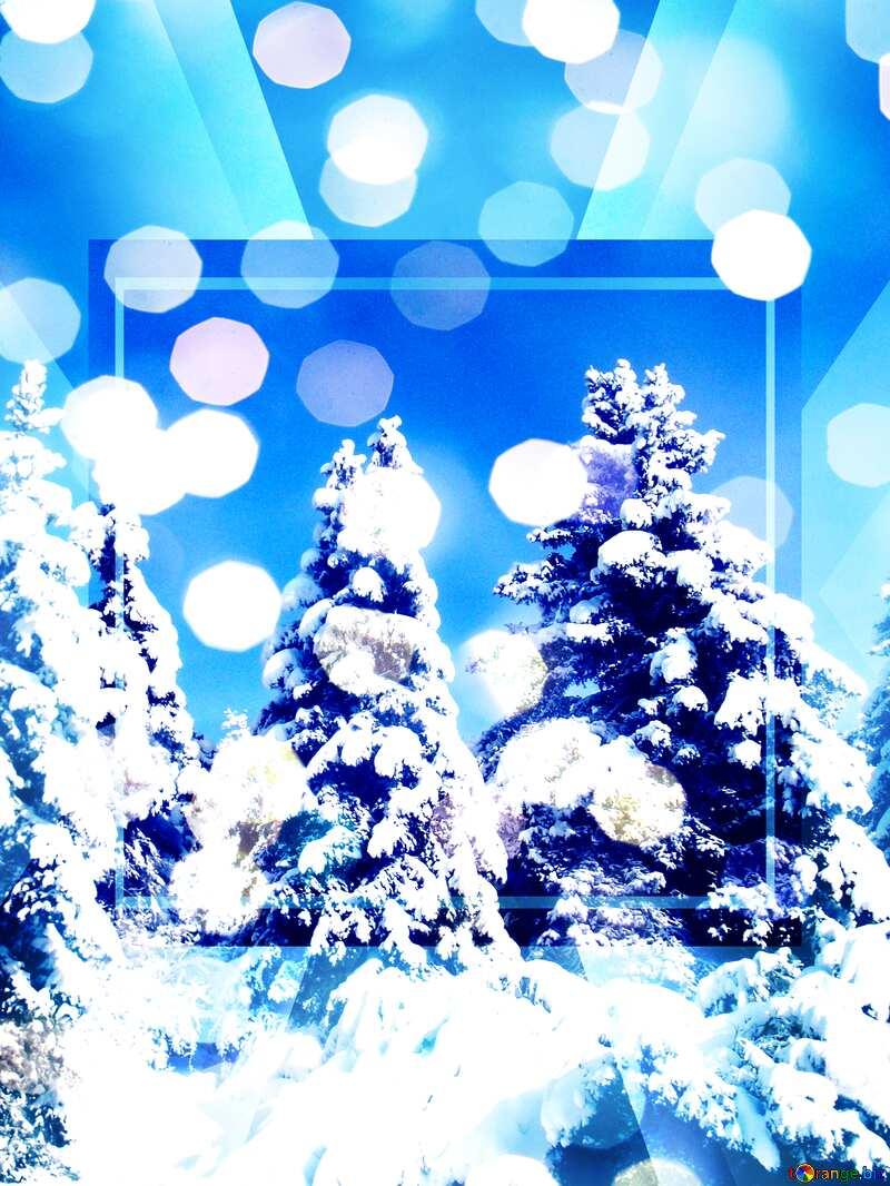 Cone Tree Snow sun Template №10576