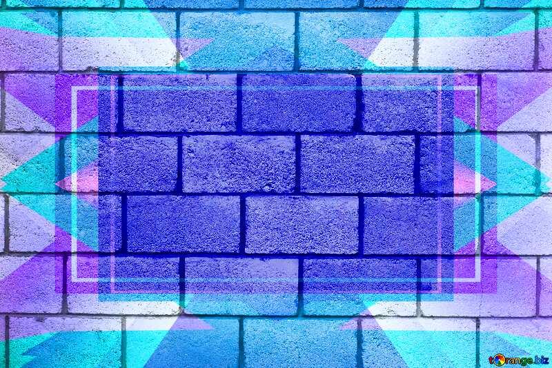 Concrete Blocks Wall Design Frame Blue Template №5320