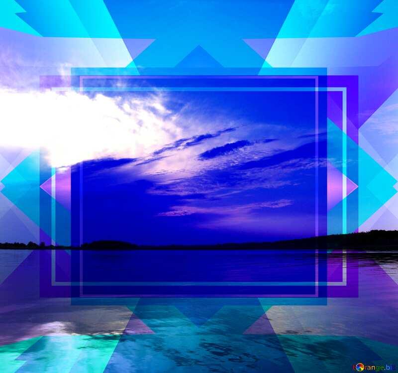 Sunset over lake Blue Card Design Frame №2012