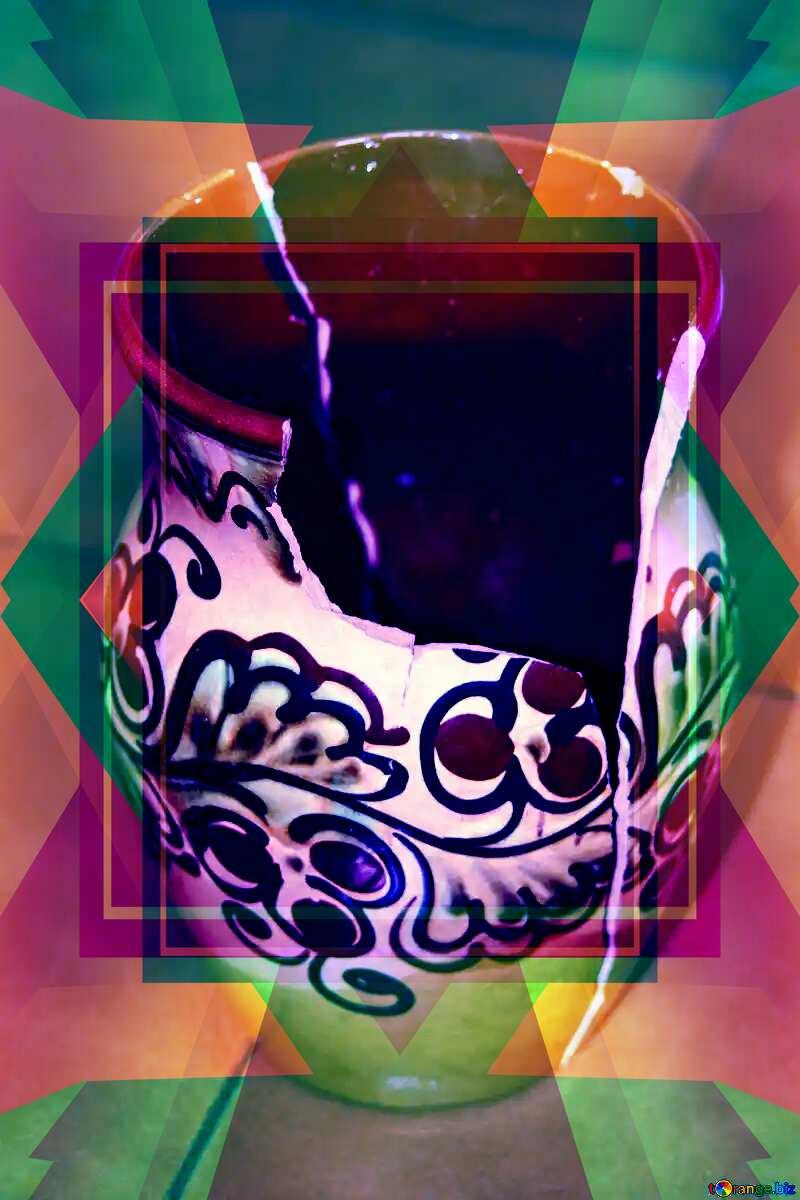 Broken Vase Infographic Illustration Frame Design Layout Template №6047