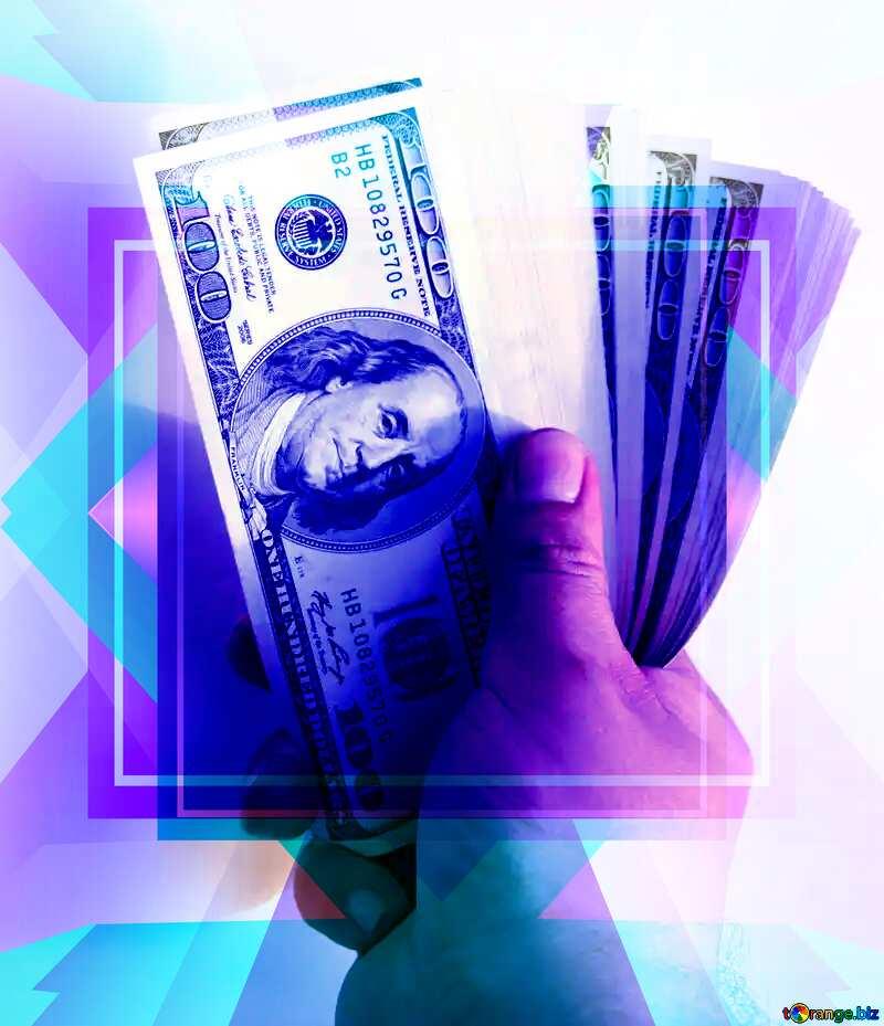 Fan of hundred-dollar bills Frame Design Template №1528