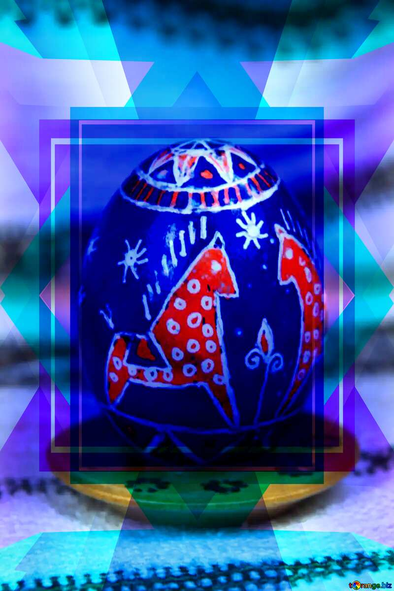 Easter egg. The symbol of the horse. Symbol of faith and devotion. Template №4367