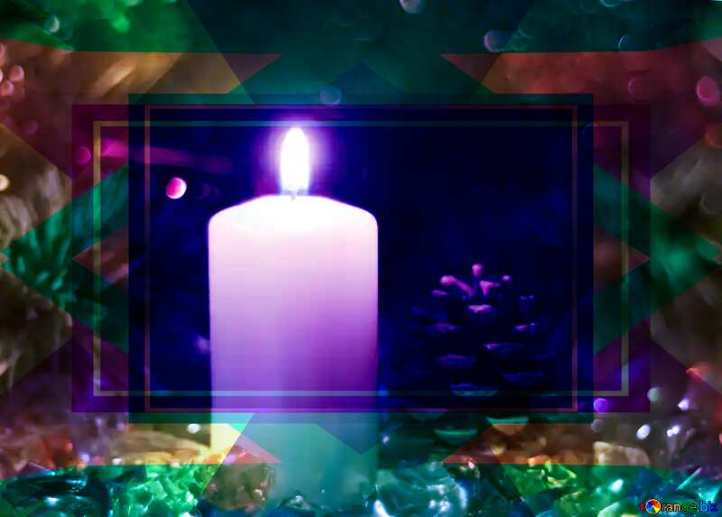 Bright color Christmas candle background. Frame Design Template №6673