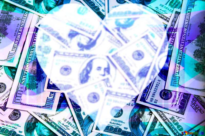 Dollars love heart background Template №1507
