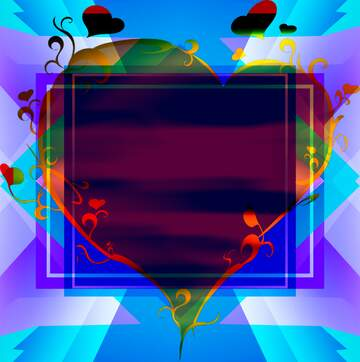 The effect of contrast. Very Vivid Colours. The template image with a heart.