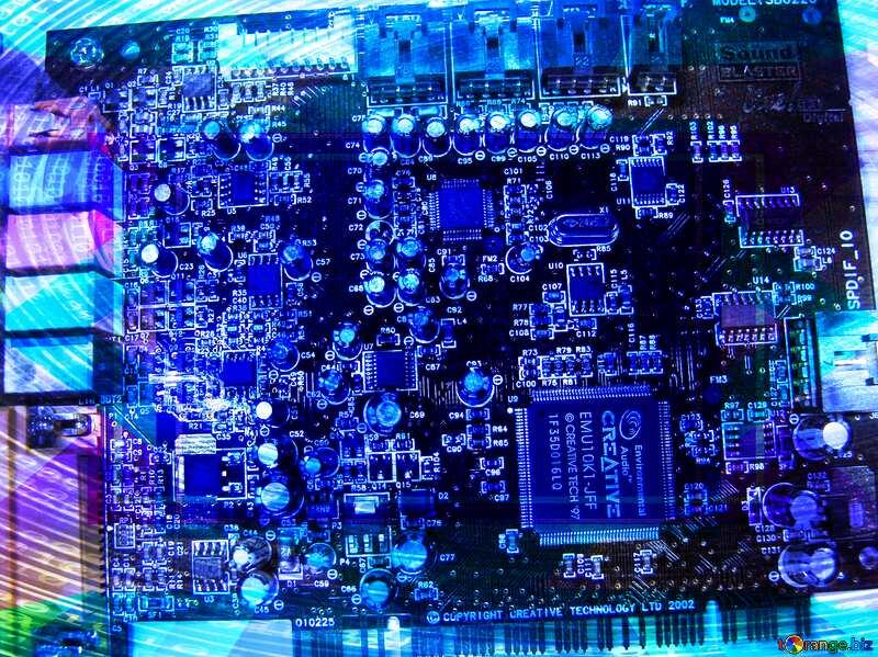 Sound Card Digital Binary data background Template №665