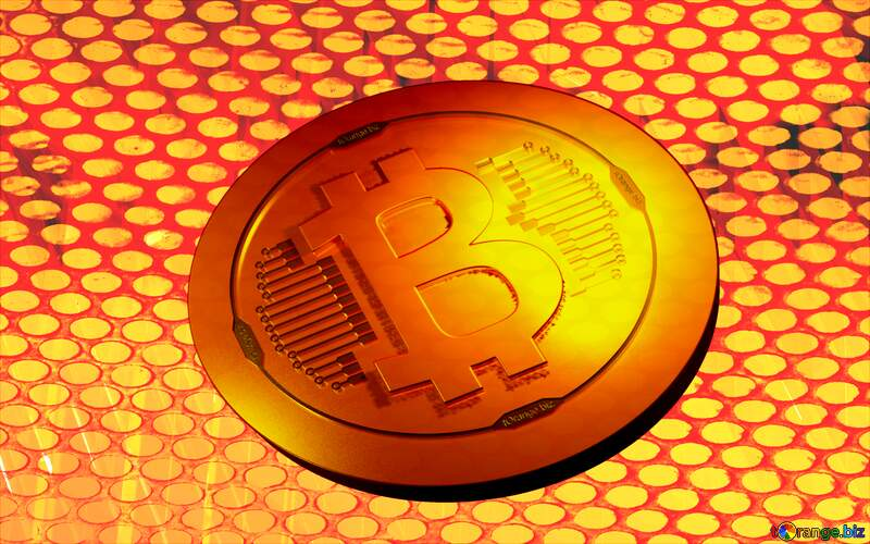 Red futuristic shape. 3D rendering geometric technology illustration. Bitcoin Coin Gold Metal Grill №51526